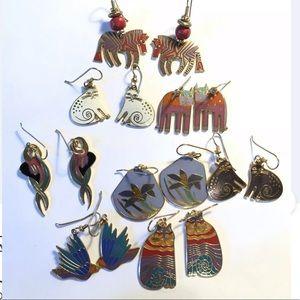 Lot of 7 Laurel Burch Earrings Enamel Cat Animals